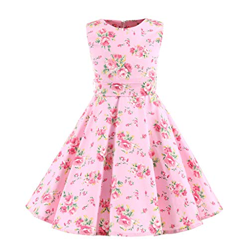VEFSU Kids Teen Children Girls 1950s Retro Sleeveless Floral Print Bow Princess Dress Big Child Skirt]()