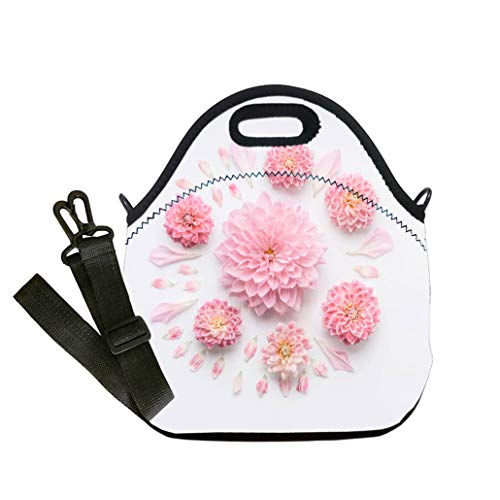 Custom Digital Printing Insulated Lunch Bag,Neoprene Lunch Tote Bags Round pink pale flowers composition with petals on white desktop background flat Lunch Bag- Insulated and Reusable Artful -