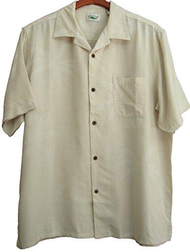 Good-Life-Mens-Silk-Camp-Shirt-Dark-Ivory-Casual-Hawaiian-Palm-Tree