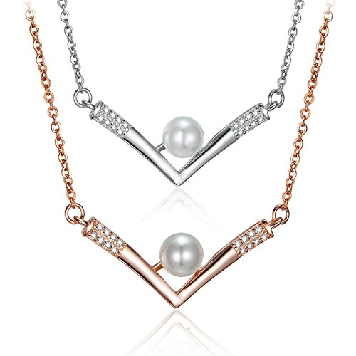 - RoseGold / Silver-Tone Color 925 Sterling Silver 5mm Simulated Pearl Triangular V Pattern Zirconia Cubic Inlay Pendant Necklace 18