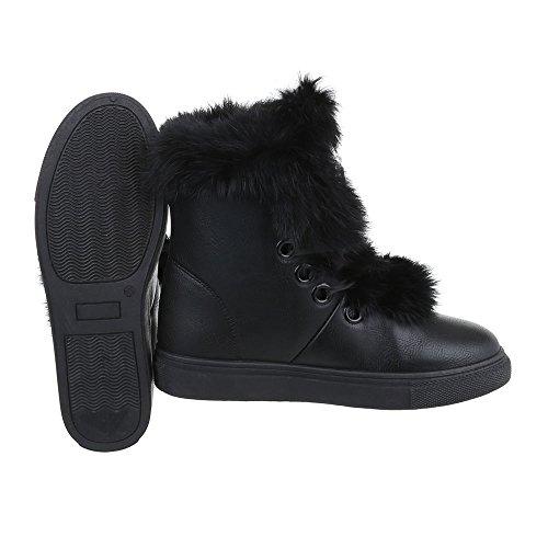 Zapatos para mujer Botas Plano Classic Botines Ital-Design Negro