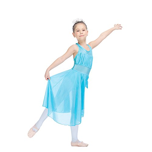 Bodice Halter Dress - HDW DANCE Girls Kids Leotard Dress Modern Dance Standard Nylon/Lycra Mesh Halter Lyrical (S-CI, Light River Blue)