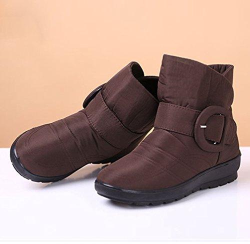 Scarpe Marrone Calde Stivali Stivaletti Impermeabile Yiiquan Neve Boots Pelliccia Donna da Invernali Flats AqxwxS7E