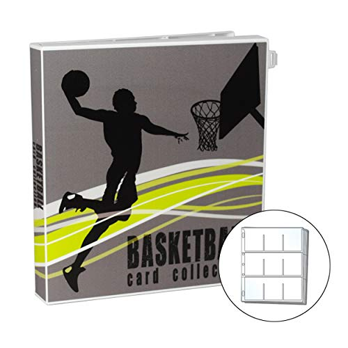 UniKeep Basketball Themed Trading Card Binder for Collectors - Comes Complete with Acid Free Plastic Pages to Hold Up to 180 Cards. Additional Pages Can Be Added