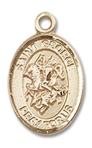 14 Karat Gold Saint George Medal Petite Charm Pendant, 1/2 Inch ()