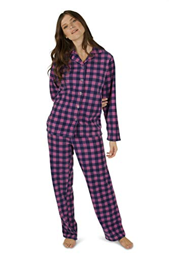 Totally Pink Women's Warm and Cozy Plush Fleece Winter Two Piece Pajama Set Teen and Girls (Small, Purple)