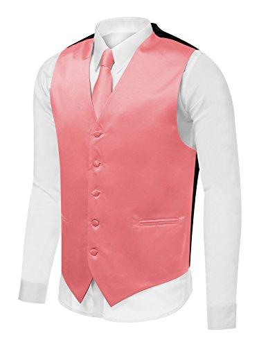 Fashion Neck Tie Set - Azzurro Men's Dress Vest Set Neck Tie, Hanky for Suit or Tuxedo, Coral, Large