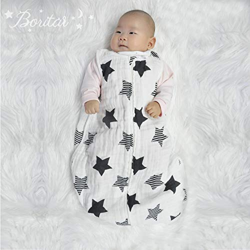 Boritar Baby Muslin Sleepsack - 100% Cotton Classic Sleeping Bag for Baby, Easy Swaddle Wearable Blanket, Little Grey Star Small