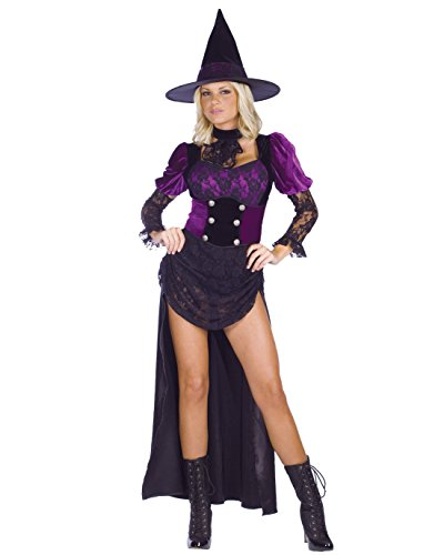 Burlesque Costumes Ideas (Sexy Burlesque Witch Costume Corset Cinch Black Gothic Purple Costume Witch Hat Sizes: Medium-Large)
