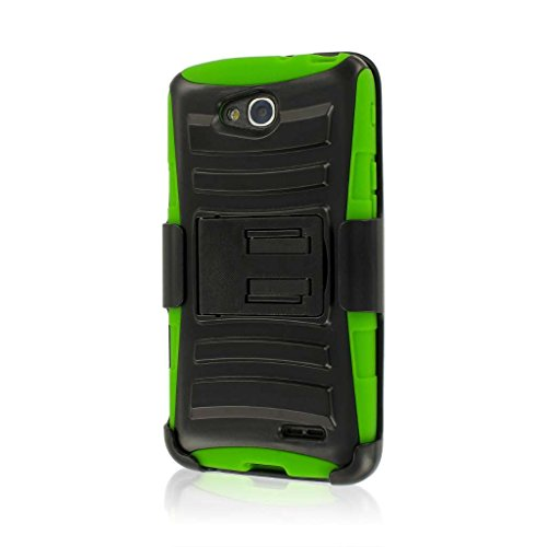 XT Series Kickstand Case and Belt Clip Holster for LG Optimus L90 - Retail Packaging - Neon Green ()