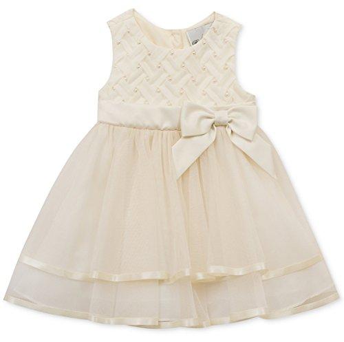 Chiffon Bodice (Rare Editions Little Girls' Basketweave Bodice Chiffon Party Dress, Ivory (5))