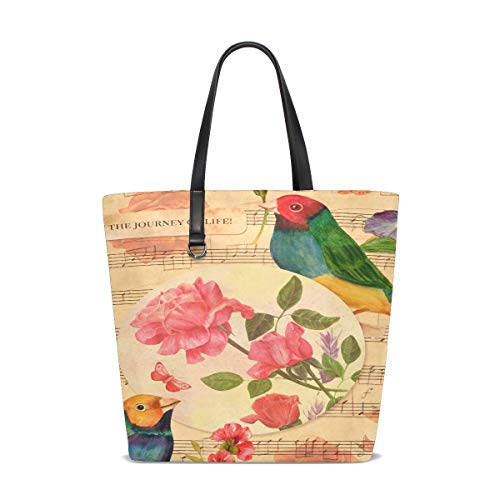 Women Victorian Style Collage Postcard Watercolor Drawings Handle Satchel Handbags Shoulder Bag Tote Purse Messenger Bags