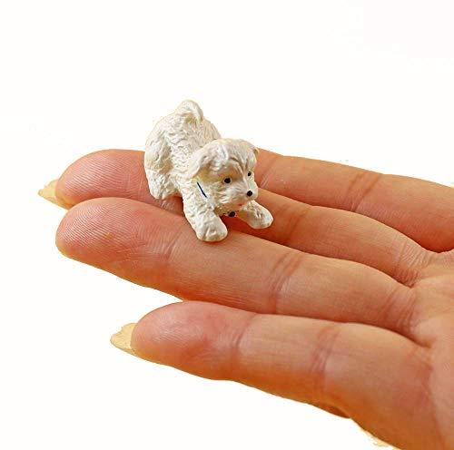 nanguawu PET White Puppy Dog Cute 1/12 Dollhouse Miniature Animal