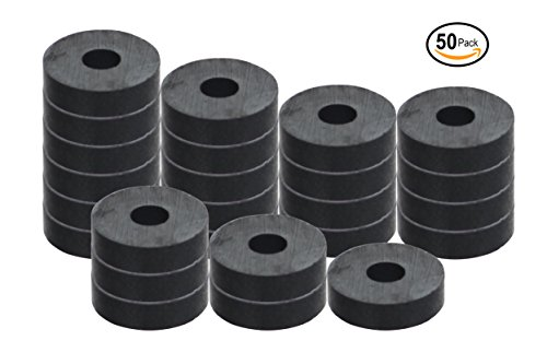 """RAM-PRO 50-Piece Powerful Magnetic Round Ferrite Magnet Discs with ¼"""" Dia. Holes (3/4"""