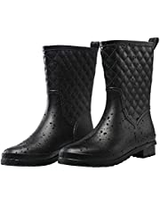 Petrass Women Outdoor Rain Boots Black, Waterproof Lady's Rainwear Mid Calf, Lightweight Cute Rain Booties for Ladies, Fashion Comfortable Garden Shoes