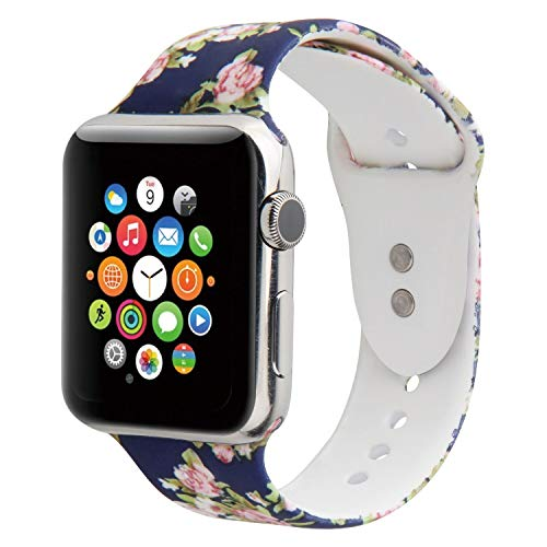 Large Product Image of Floraler Sport Band for Apple Watch,Choose Proper Color & Size-38MM S/M,38MM M/L,42MM S/M or 42MM M/L, Soft Silicone Strap Replacement Wristbands for Apple Watch Sport Series 3/2/1