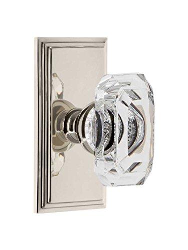Grandeur 828356 Carre Plate Privacy with Baguette Crystal Knob in Polished Nickel, ()