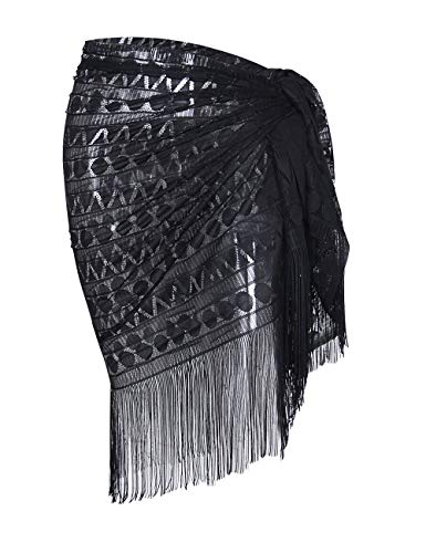 shermie Women's Swimwear Sarong Wrap Swimsuit Skirt Bikini Summer Beach Cover Up with Tassel (One_Size, 005-Black)