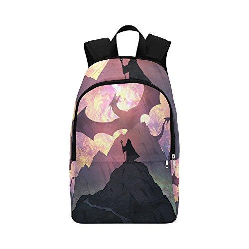 Unique Debora Custom Outdoor Shoulders Bag Fabric Backpack Multipurpose Daypacks for Adult with Design Epic Fantasy Illustration Of A Fire Dragon