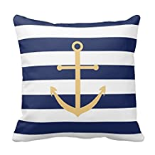 Navy Blue And Yellow Anchor Pillow Covers 16 x 16