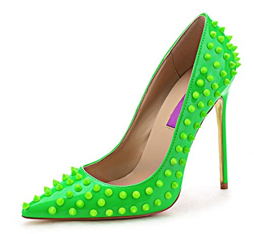Women's High Heel for Wedding Party Pumps Fashion Rivet Studded Stiletto Pointed Toe Dress Shoes Green Patent PU Size US8 EU40