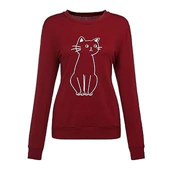 Xmiral Mujer Camiseta Gato Estampado, Cuello Redondo Manga ...