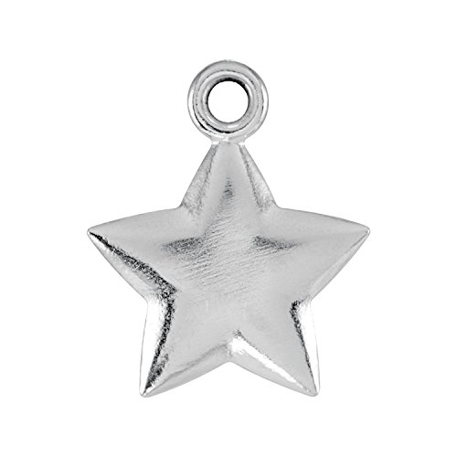 Sterling Silver 11.5x9.75mm Puffed Star Charm with Jump Ring (Star Silver Sterling Puffed)
