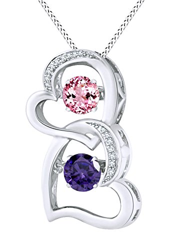 AFFY Round Cut Simulated Pink Tourmaline with Alexandrite Double Heart Pendant Necklace in 14K White Gold Over Sterling Silver