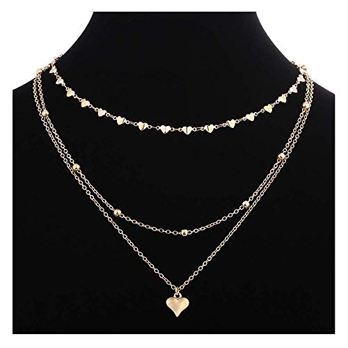 S-Girl Fashion Bohemia 3 Layers Heart Shaped Necklace for Women. Unique Alloy Bead Torque for Girl. ()