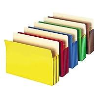 "Bolsillo de archivo Smead, lengüeta de corte recto, expansión de 3-1 /2 "", tamaño carta, colores surtidos, 5 por paquete (73892)"