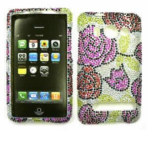 tal Diamond / Rhinestone / Bling Pink and Red Roses HARD PROTECTOR COVER CASE / SNAP ON PERFECT FIT CASE (Htc Evo 4g Crystal)