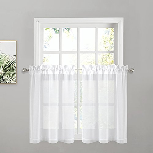 PONY DANCE Kitchen Curtains Small - 55 W x 36 L inches, White Linen Look Semi-Sheers Window Tier Valances Rod Pocket Voile Curtain Panels Draperies for Bath Cafe High Thread, 2 Pieces (36 Sheer Inch Curtains)