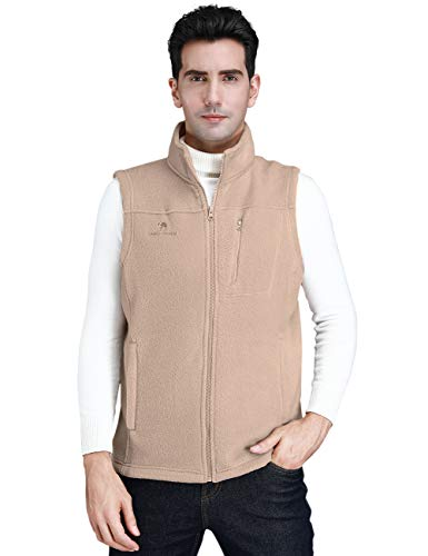 CAMEL CROWN Fleece Vest Men Women Full-Zip Sleeveless Jacket Plus Size with Pocket Lightweight Casual Gilet(Grayish White, Medium) - Fleece Zipper Vest