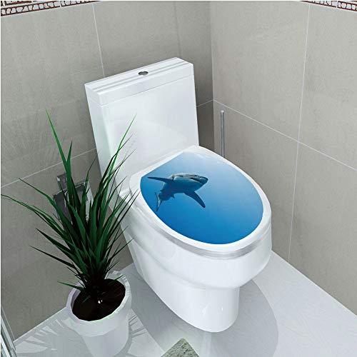 Toilet Custom Sticker,Shark,Fish Swimming in The Ocean Underwater Beauty Tropical Island Water Nature Landscape,Light Blue,Diversified Design,W11.8