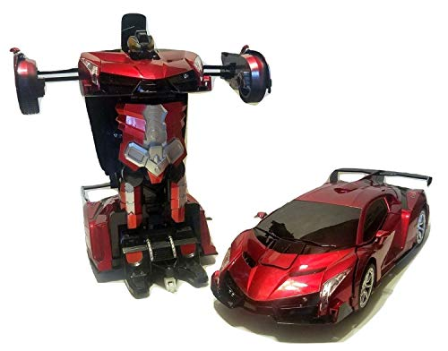 Remote Control Metal Red Veneno Car Shape-Shifting Action Figure Robot Toy with Hand Wave Transformation