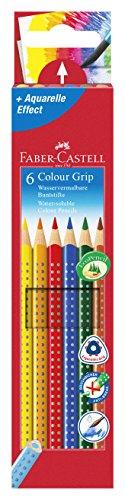 Faber-Castell 112406 Buntstifte Colour Grip 2001 (Inhalt: gelb, orange, rot, blau, grün und braun) 6er Kartonetui