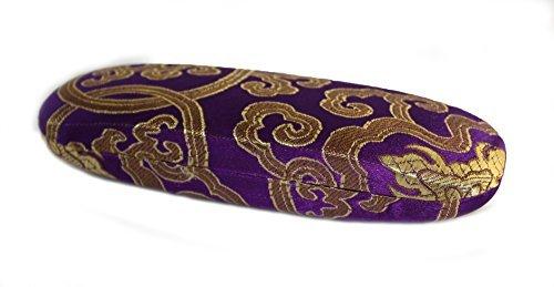 Dekoratives Brillenetui, blumige Seidenstickerei, Lila mit Gold und buntem Blumenmuster OFA Products
