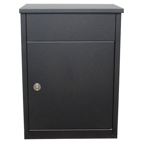 Qualarc ALX-500-BK Allux 500 Wall Mount Locking Galvanized Steel Mail and Parcel Box, Black by Qualarc