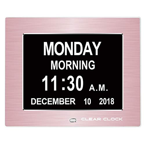 (Clear Clock [Newest Version Extra Large Digital Memory Loss Calendar Day Clock with Optional Day Cycle + Alarm Perfect for Seniors + Impaired Vision Dementia Clock (Rose Gold))