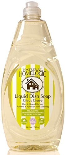 Natural HomeLogic Eco Friendly Liquid Dish Soap, 24 oz Citrus Grove | Powerful & Pure Non-Toxic Cleaning | Plant & Mineral Derived