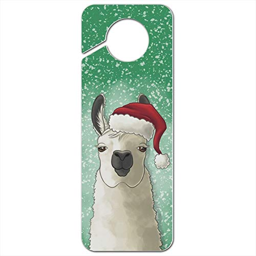 GRAPHICS & MORE FA La La La Llama Christmas Santa Hat Plastic Door Knob Hanger Sign - Image