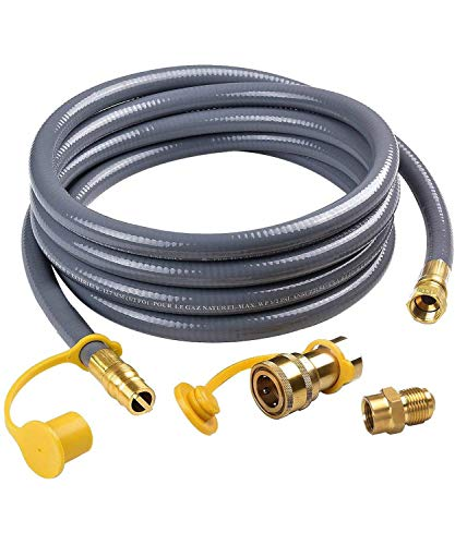 SHIENSTAR Flexible 12FT 1/2 ID Natural Gas Hose Conversion Kit for Gas Grill, Griddle, Smoker, Fire Pit, Pizza Oven, Generator, Outdoor Heater and More NG/Propane Appliance