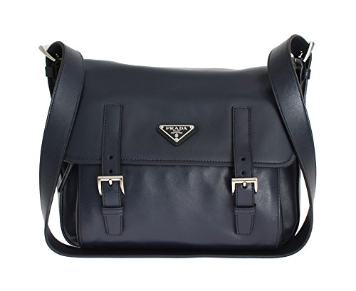 Prada Soft Baltic Blue Calfskin Leather Messenger Bag BT953L