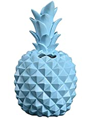 Fenteer 4.3x7.7inch Piggy Bank Resin Pineapple Shape Cans Decorative Kids Adults Coin Money Bank Luxury Nordic Modern Home Bedroom Party Desk Decorations