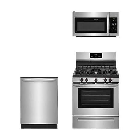 Kitchen Suites Gas Amazon frigidaire 3 piece stainless steel kitchen package with frigidaire 3 piece stainless steel kitchen package with ffgf3054ts 30quot freestanding gas range workwithnaturefo