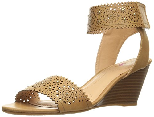 XOXO Women's Sallie-s Wedge Sandal, Tan, 9 M US