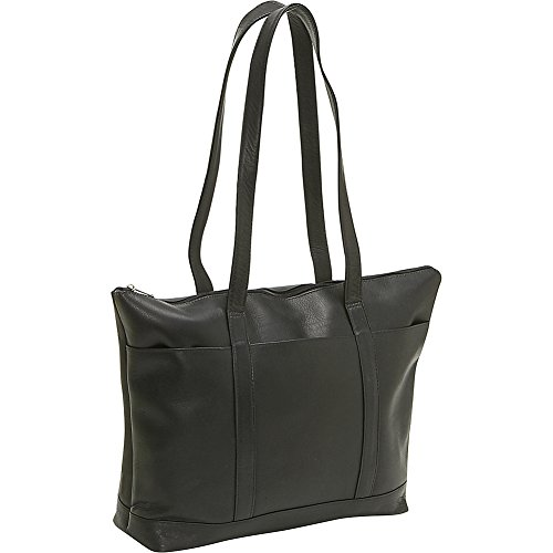 le-donne-leather-double-strap-med-pocket-tote-black