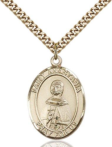 14K Gold Filled Catholic Saint Anastasia Medal, 1 - Set Jewelry Anastasia