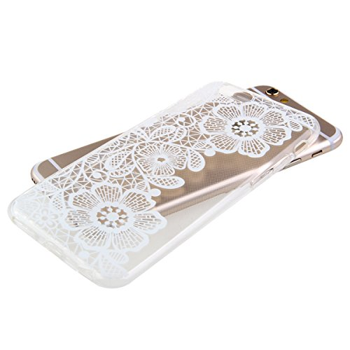 Kakashop TPU Silicone Souple Transparent Cover Case pour iPhone 6 Plus(5.5''), Conception grande fleur [Scratch-Resistant] [Perfect Fit]Crystal Clair Soft Gel TPU Coque Pour Apple iPhone 6s Plus(grand