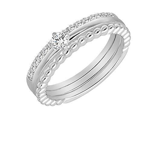 Chic joias Womens Girls Cubic Zirconia CZ Rings 925 Sterling Silver Stackable Rings Set 18K White Gold Plated Gift for Propose Christmas Birthday New Year Valentine's Day (8#13844A) ()